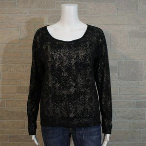 Rock & Republic Black Metallic Gold Sweatshirt Top